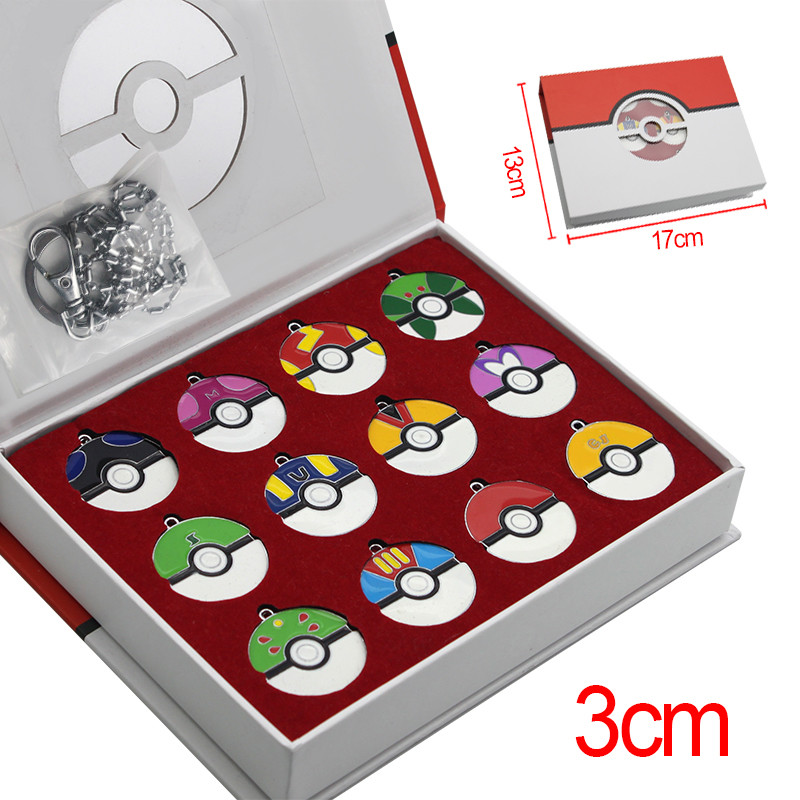 12pcsset Pokemon Super Master PokeBall Keychain Pendant Juguetes with Exquisite Box Christmas Gifts (3)