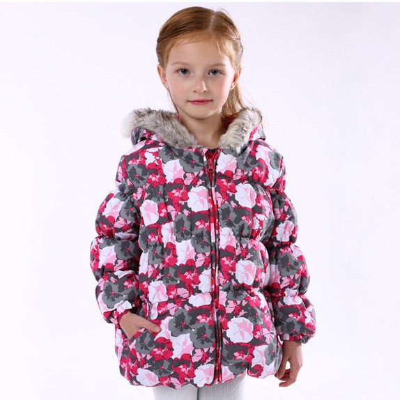 Newly Children girl winter long jacket fur hooded print floral waterproof thickening coa ...