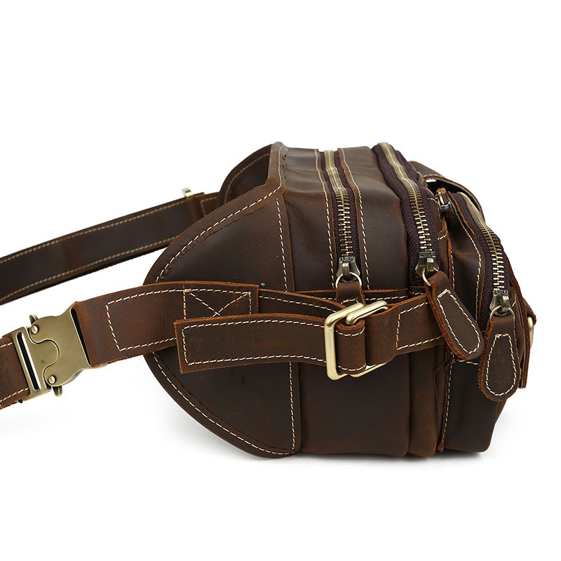 2018 мужские дорожные сумки из натуральной кожи, Мужская поясная сумка, поясная сумка из коровьей кожи - 3