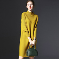 2017 Autumn Winter Women Warm Sweater Solid Color Turtleneck Casual Long Sleeve Loose Knitted Sweaters Pullover