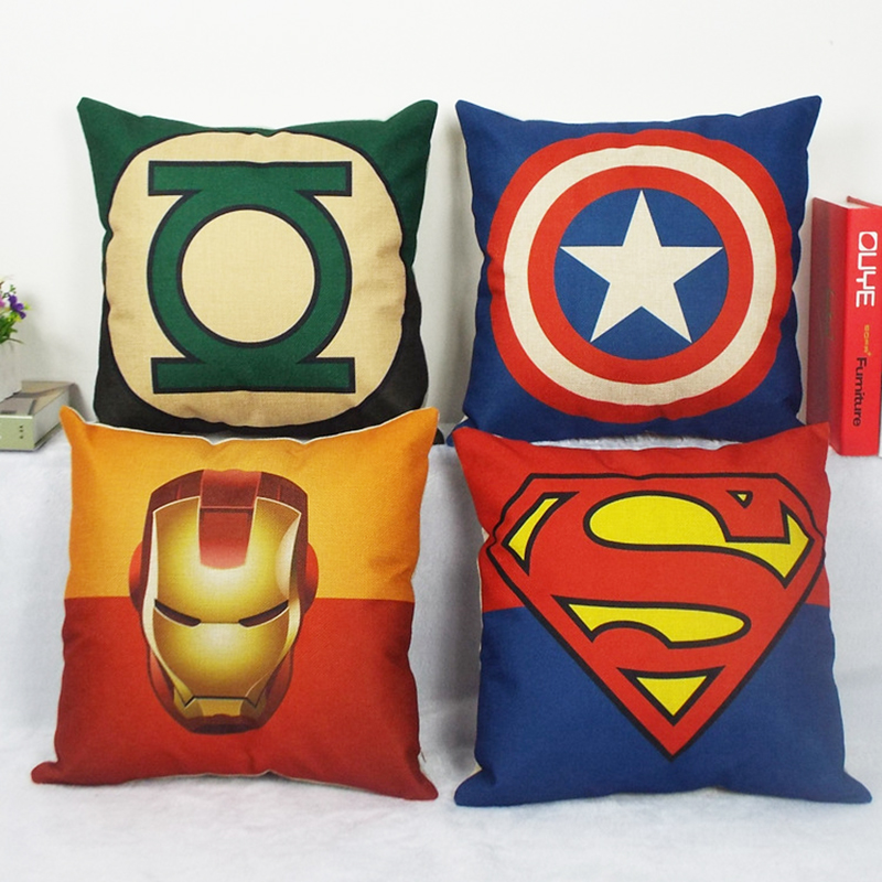 Avengers Linen Cushion Cover Pillowcases Superhero Superman Captain America  Iron Spider Man Batman Decorative Throw Pillow