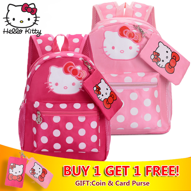 677ebac2cd04 Hello Kitty Cute Cartoon Pink Multifunctional Backpack Girls KT Bags Small  Wallet Children Schoolbag Kids Gifts Good Quality