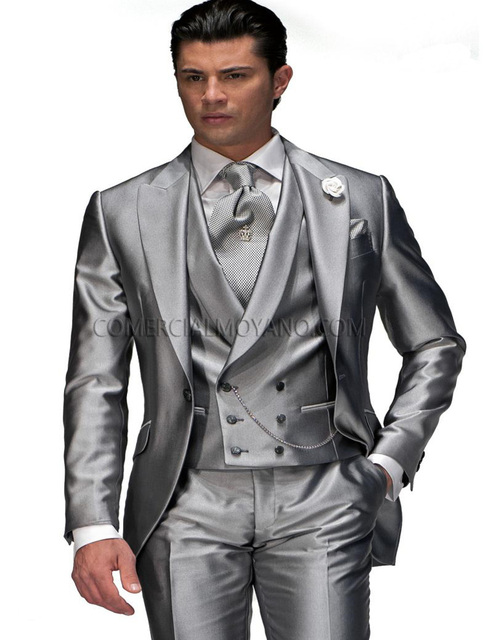 New Arrival Custom Made Handsome men tuxedos 2018 Silver Grey prom ...