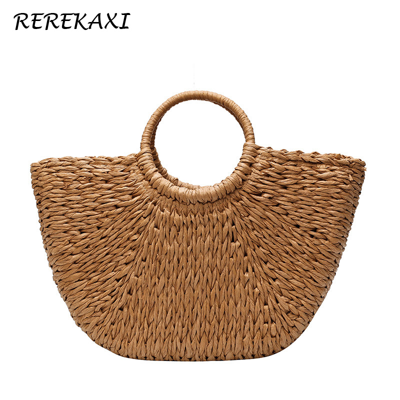 <font><b>REREKAXI</b></font> Handmade Women Handbag Summer Half Moon Bag For Women Straw Beach Bags Female Shopping Weaving Tote Feminina Bag image