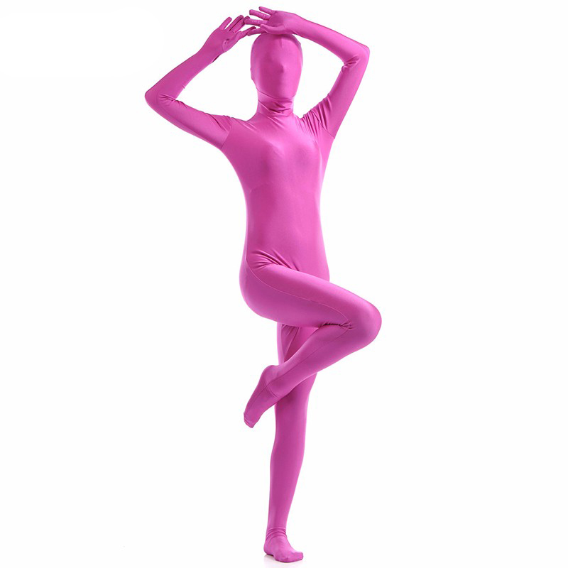 Ainclu Deep Pink Lycra Spandex Zentai Suit for Women Female Halloween Jumpsuit Romper  Rush order/Same day shipping/24-hour ship