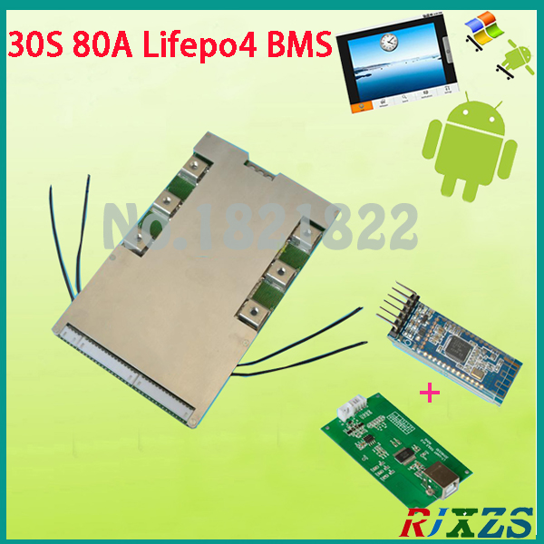 US $114 0 |30S 80A active bms 2017 new Lifepo4 smart bms pcm with android  Bluetooth app UART correspondence bms wi software (APP) monitor-in