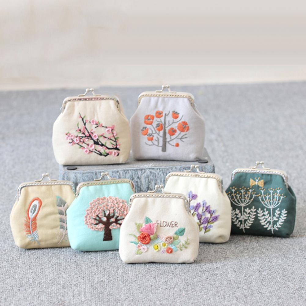 DIY Embroidery Flower Tree Purse Wallet Needlework Sewing Cross Stitch Materials Chinese Style Small Coin Purses Women Vintage
