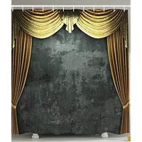 Vixm Opening Scene Vintage Grunge Opera Stage Classical Theater Window Curtains Polyester Fabric Gray Gold Shower Curtains