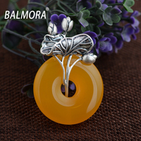 BALMORA 100 Real 990 Pure Silver Jewelry Chalcedony Retro Pendants For Necklaces Women Lover Accessories Gifts