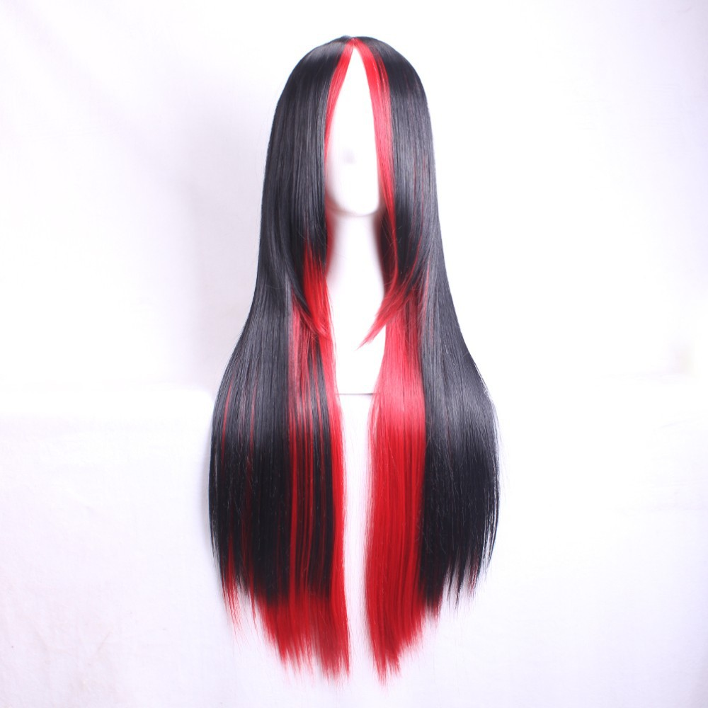 Black and Red Mixed Short Straight Cosplay Wig Gift Hairnet