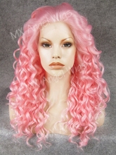 K03 Beautiful Natural Wavy Pink Color Synthetic Lace Front Wigs Heat Resistant Heavy Density kanekalon Women Festival Wigs