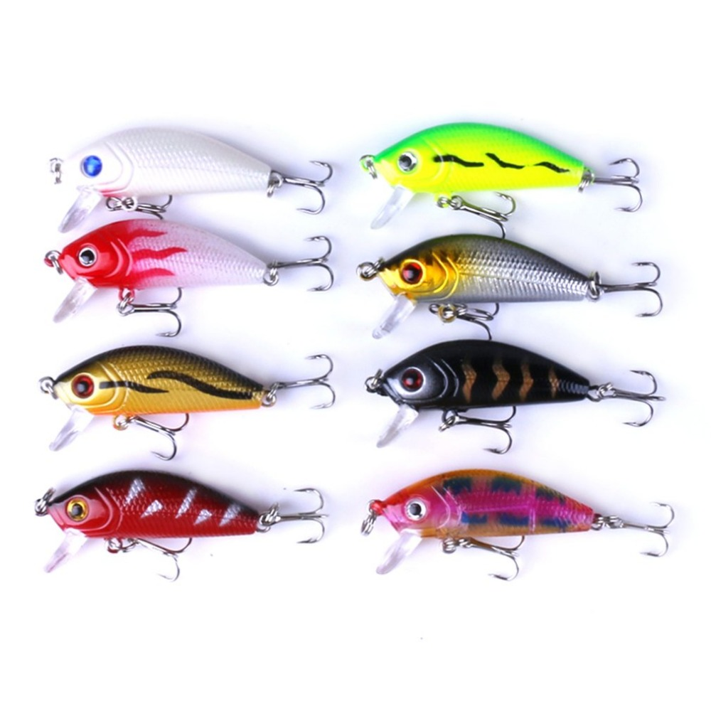 48pcs/lot Fishing Lures Set Mixed Lure Artificial Professional Crank Minnow Bait Wobblers Fishing Tackle Outdoor Simulation Lure bearking 5pcs lot professional fishing lure crank different colors each lot crank 65mm