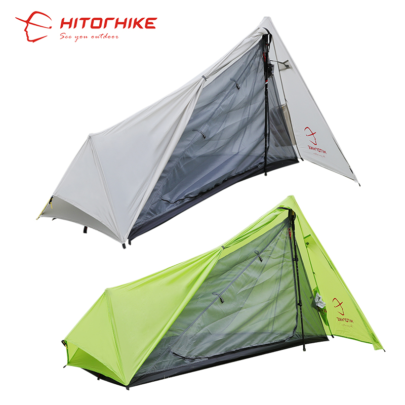 Hitorhike Two colors 800g Outdoor Ultralight Camping Tent 3 Season 1 Single Professional 15D Nylon Silicon Coating Rodless Tent 995g camping inner tent ultralight 3 4 person outdoor 20d nylon sides silicon coating rodless pyramid large tent campin 3 season