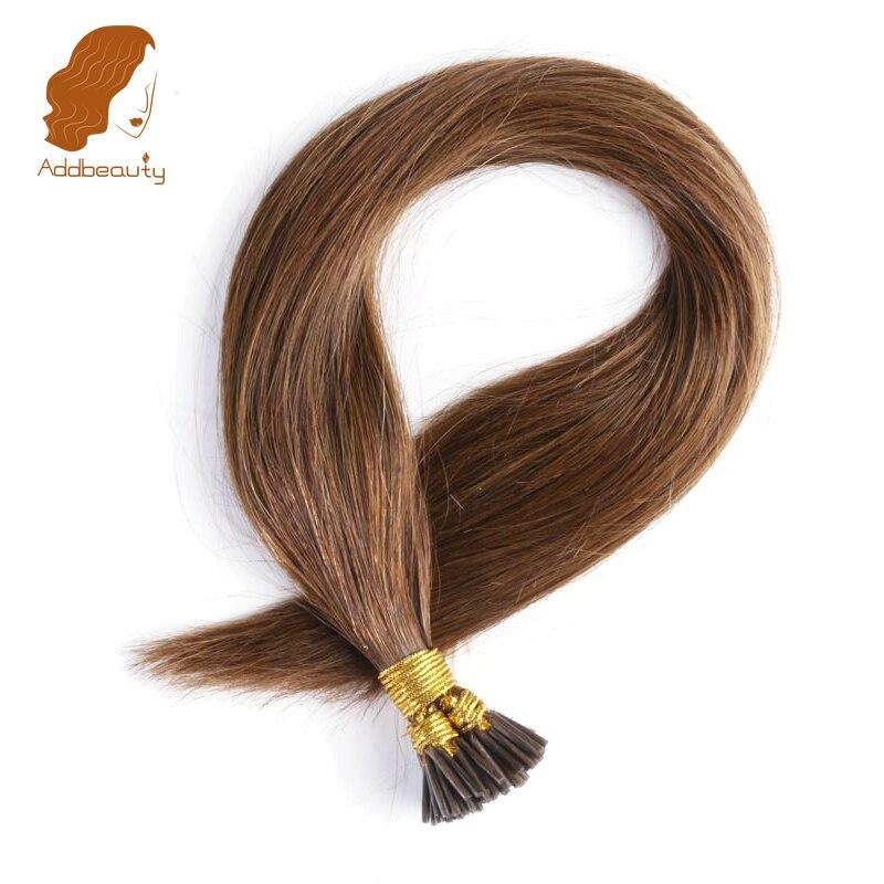 Addbeauty 0 5g pc 16 18 20 Brazilian Straight Remy Hair Extensions Straight Keratin I Tip