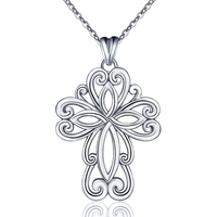 Lucky Irish For Celti Knot Cross 100 Solid 925 Sterling Silver Pendant Chain Necklace Jewelry Anniversary