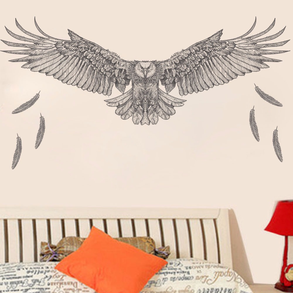 Simulation graffiti eagle office wall wtickers decorate simple sketch flying horizon eagle wallpaper removable green black decor