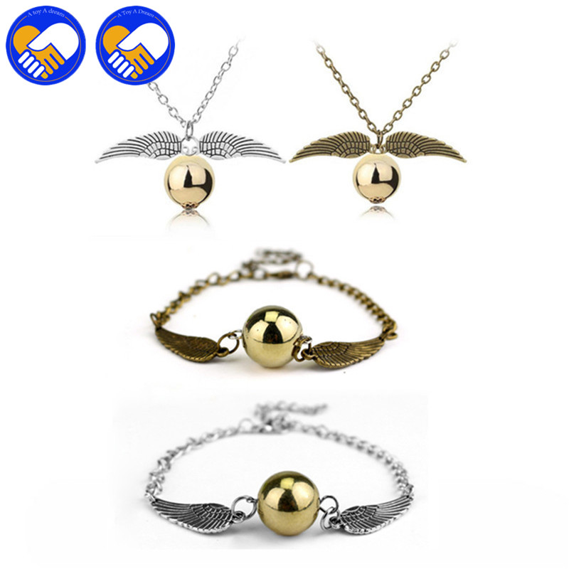 Wholesale Harri Potter Magic Necklace Philosophers Eagle wings Gold Chain Action Figure Toy Sorcerers Pendant Necklace Keychai