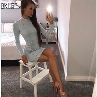 2018New Spring Autumn Eyelet Lace Up Deep O Neck Sexy Short Dress Women Long Sleeve Fitness Slim Pencil Dress Bottoming Clothing