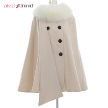 AKSLXDMMD 2017 Fashion Women Woolen Overcoat Poncho Winter Autumn Cape Poncho Batwing Cloak Coat Outerwear With Fur Collar DX408(China)