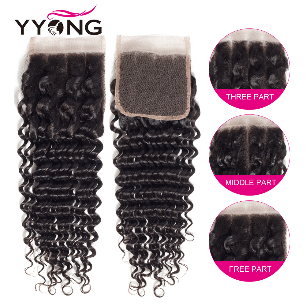 Yyong  Deep Wave Closure 4*4 Swiss Lace Free/Middle/Three Part  Natural Color  8-22 inches 3