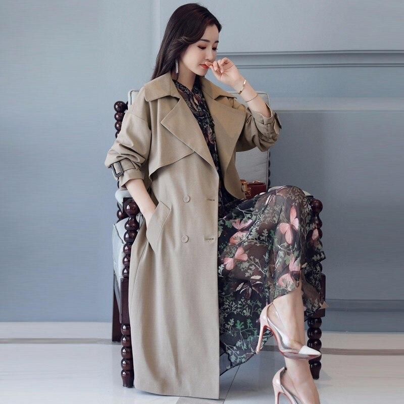 Double Femme Automne vent Outwear Casaco Coupe Okb886 Manteau Caramel Pardessus Élégant khaki Feminino Boutonnage Femmes Mince Occasionnel Tranchée 2018 Yqg8xpp