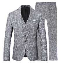 YFFUSHI Latest Design Men Suit Three Pieces Jacket Vest Pants Grey Printing Fashion Design Casual Plus Size 6XL