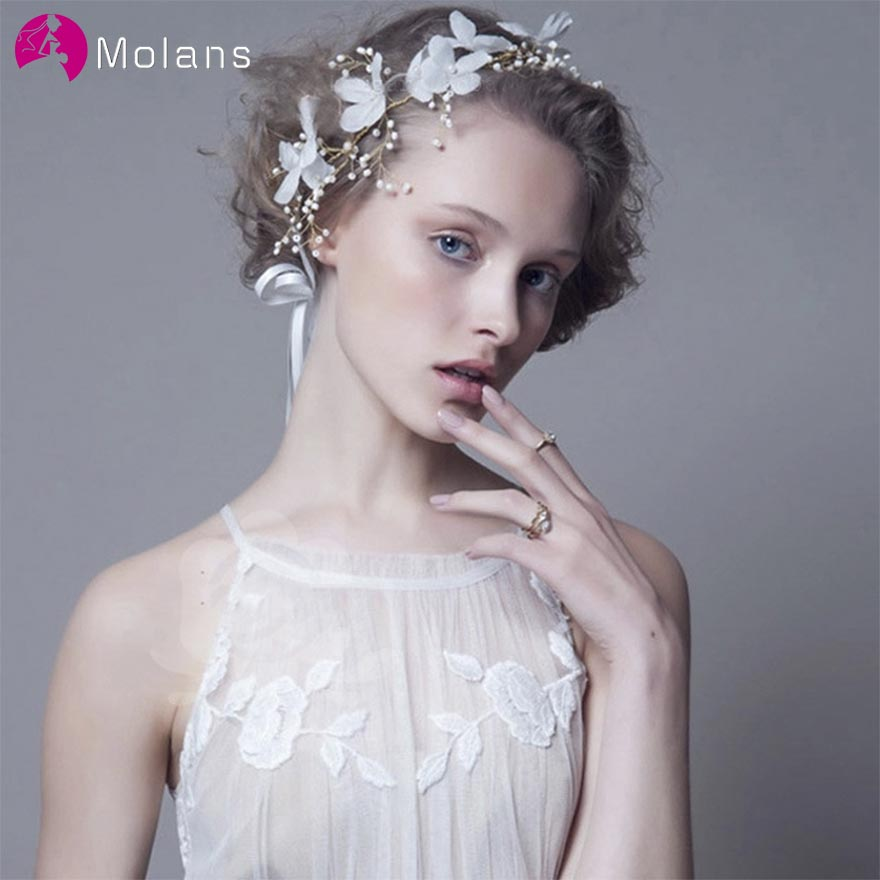 MOLANS New Style White Yarn Flower Headbands For Wedding Hair Ornament Handmade Twisted Alloy Pearl Crown For Bride/Fancy Girls