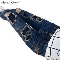 Moda Casual Mulheres Marca Vintage Cintura Alta Skinny Jeans calças de Brim Magros Rasgadas Calça Jeans Lápis Buraco Calças Femininas Sensuais Calças Meninas
