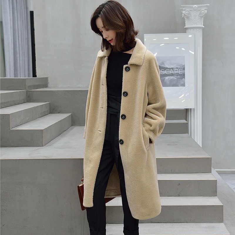 2347d313ec5 ... Women Sheep Shearling Jacket Real Wool Fur Coat Female 2019 Korean  Fashion Long Warm Woman Winter ...