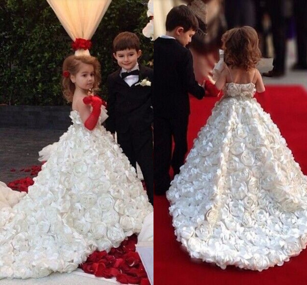 Special Rose Flower Pattern Flower Girl Dress For Wedding With Court