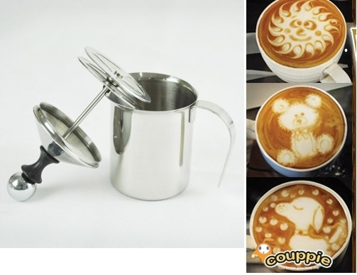 1pc 400ml/13.5oz Stainless Steel Milk Frother Double filter Creamer Foam for Cappuccino latte art for barista