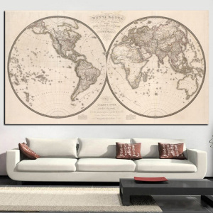 Vintage Poster Print Earth Moon World Map Painting Eastern Western Hemispheres Modern Wall Picture for Living Room Cuadros Decor