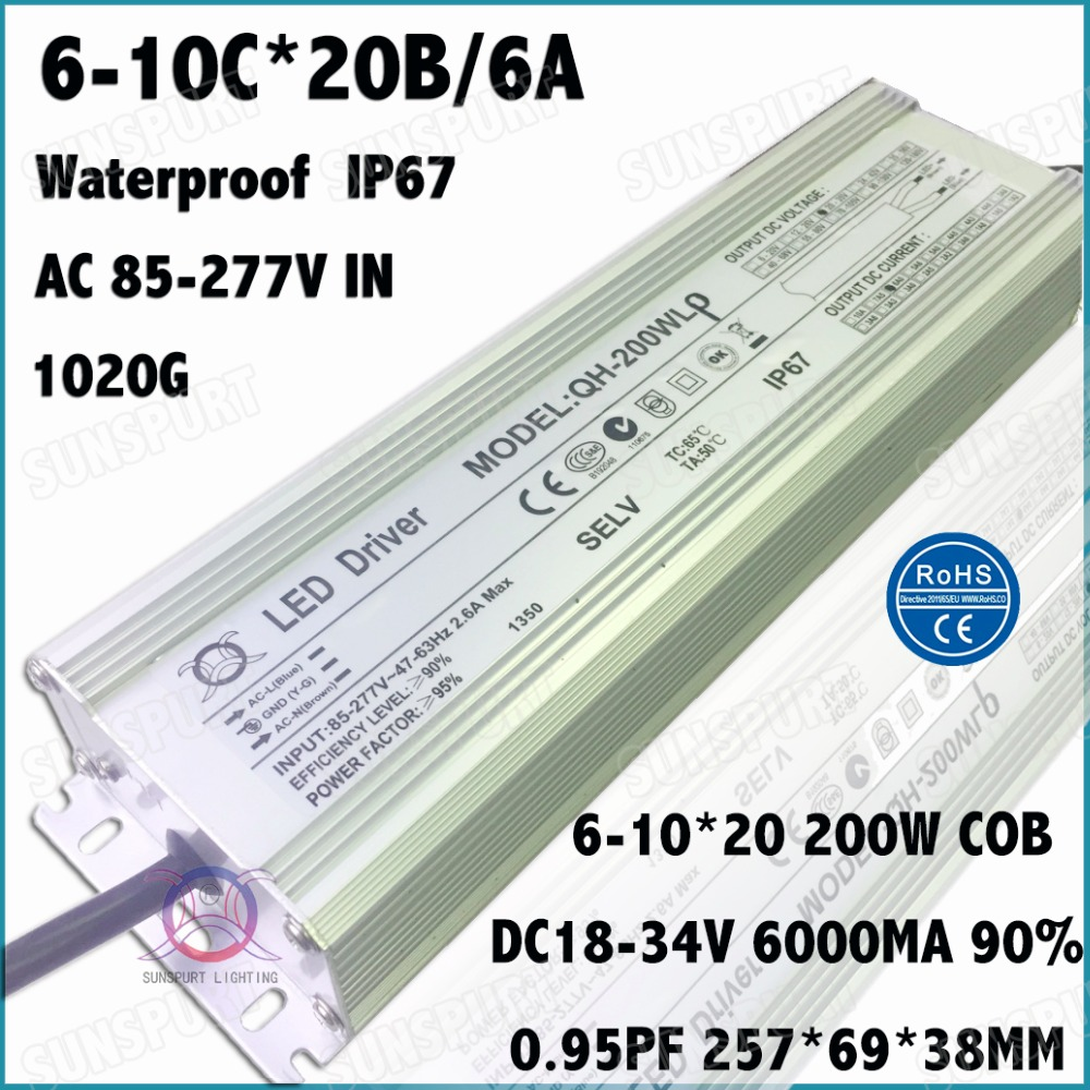 ФОТО 1 Pcs High PFC 200W AC85-277V LED Driver 6-10Cx20B 6000MA DC18-34V IP67 Waterproof Constant Current For Spotlights Free Shipping