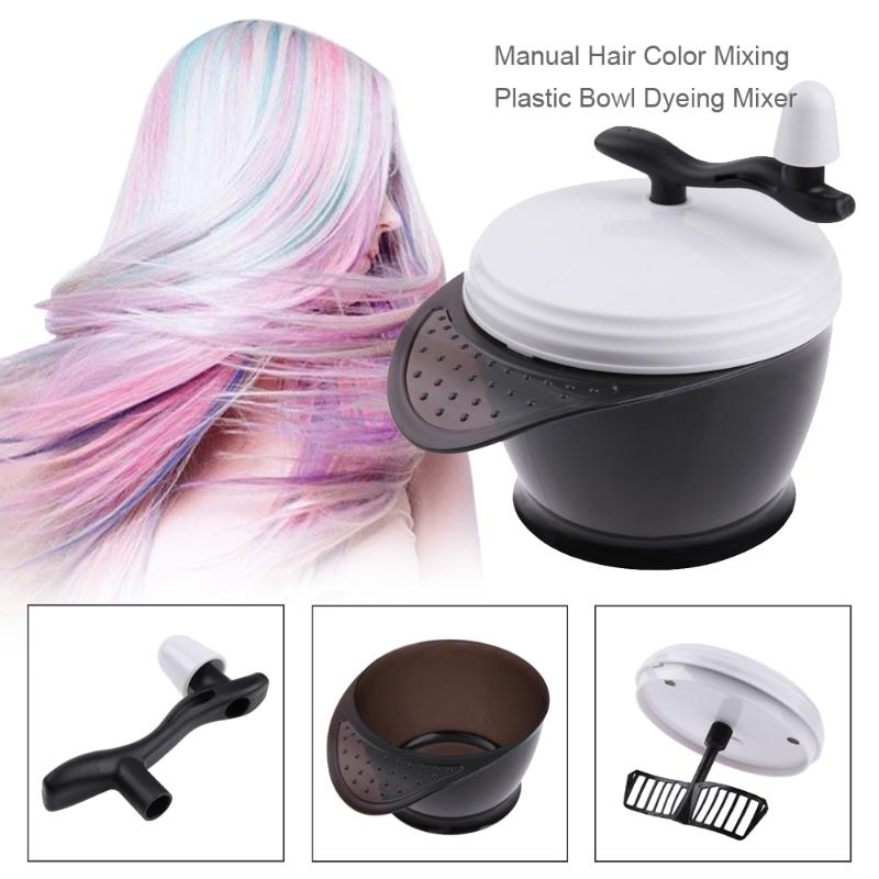 Professional Manual Hair Color Mixing Bowl Hair Dye Cream Mixer Tool Manual Dyeing Mixer Hair Color Mixing Plastic Bowl