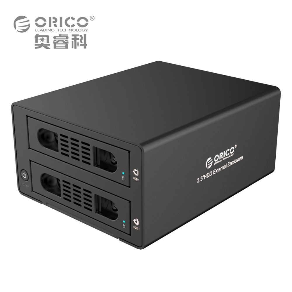 ORICO 3529RUS3 Tool-free Aluminum 2-Bay 3.5 SATA2.0 USB3.0 HDD External Docking Station RAID Function 2bay HDD Case
