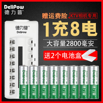 Delipow battery set No. 5 8 quarter turn lights large capacity KTV microphone battery charger Rechargeable Li-ion Cell