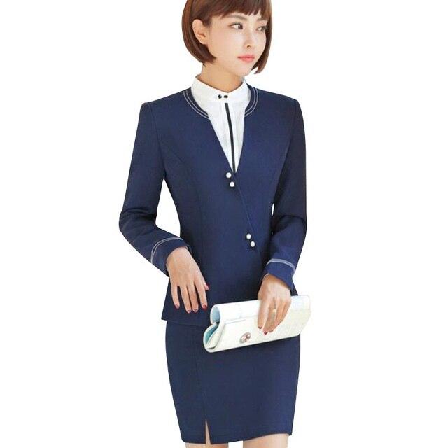 Mode travail porter 2017 nouveau hiver femmes slim jupe formelle costumes bureau dames grande taille à manches longues blazer et jupe uniformes