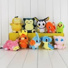 10Pcs Lot Anime Charmander Mudkip Lapras Psyduck Snorlax Emolga Chikorita Slowpoke Torchic Mew Plush Dolls Toys