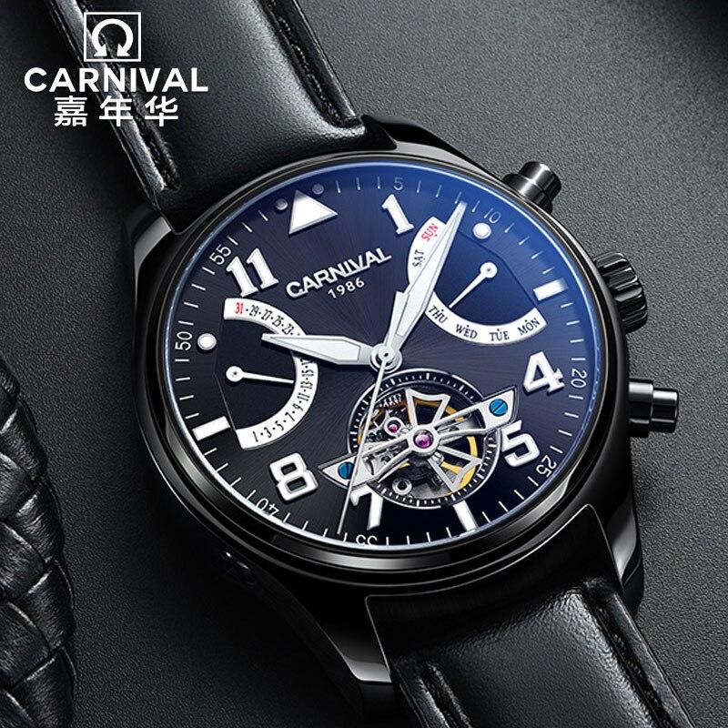Carnival อัตโนมัติ Tourbillon Mechanical นาฬิกาผู้ชายหนังกันน้ำ Diver Mens นาฬิกาโครงกระดูก Pilot นาฬิกาข้อมือ relogio-ใน นาฬิกาข้อมือกลไก จาก นาฬิกาข้อมือ บน   1