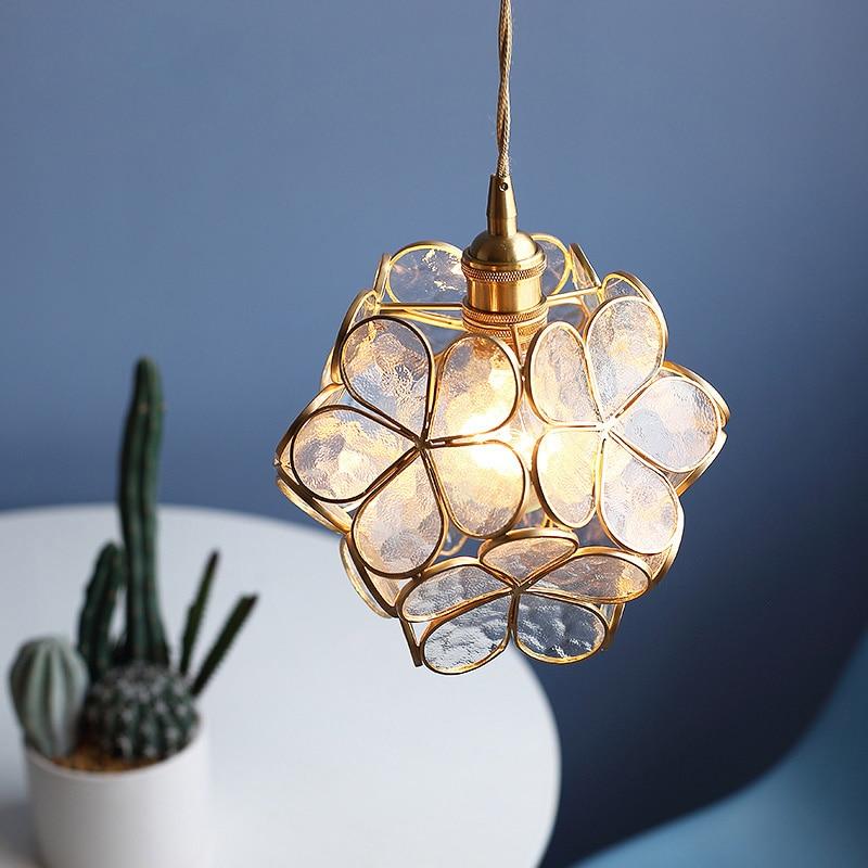 Modern Glass Pendant Lights Flower Shape  Brass Copper Pendant Sconce Lamp Creative E27 Hanging Lights For Kitchen Bedside Light