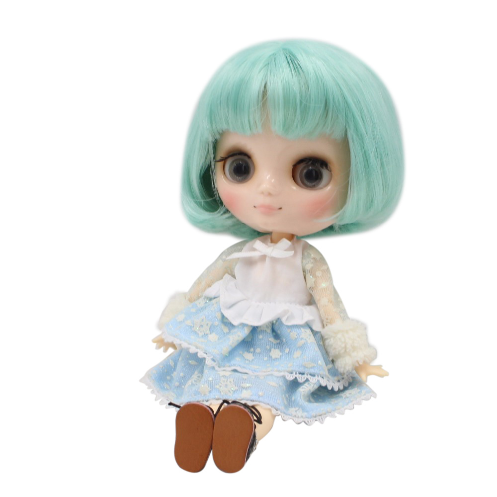 Free shipping blyth Middie Doll joint body mint green hair short bob hair 1/8 20cm BL4006 mint green casual sleeveless hooded top