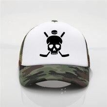 Último modelo Hockey signo patrón de impresión tapa neta gorra de béisbol  hombres mujeres verano nueva 9264da8b8c0