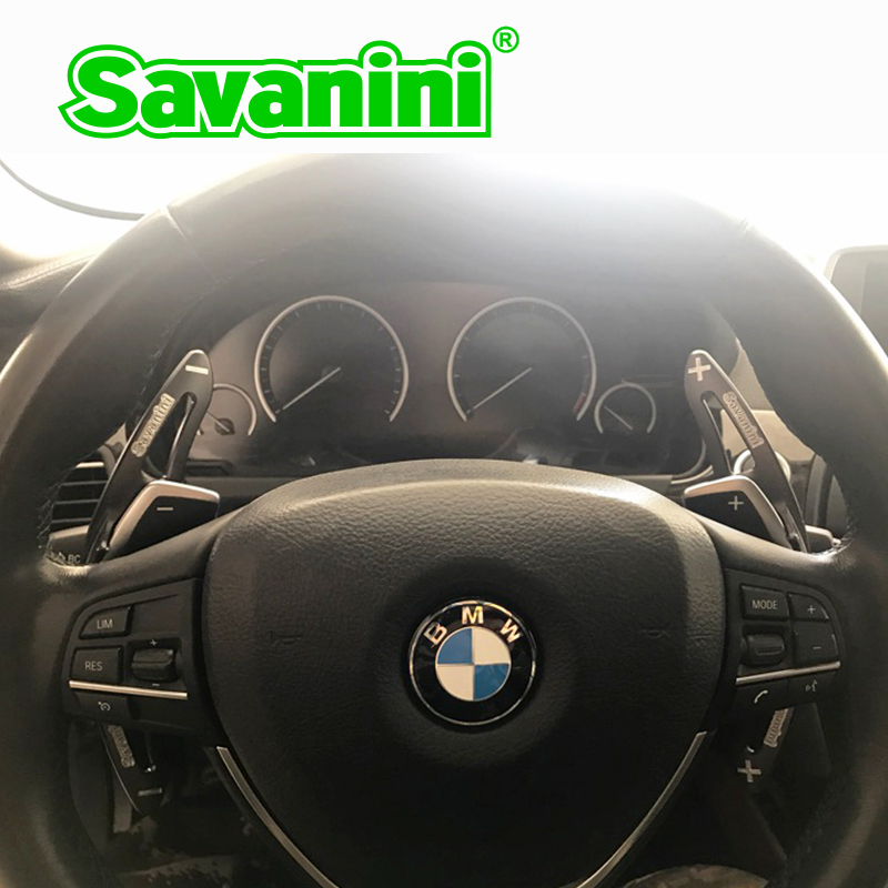 Savanini 2pcs Aluminum Steering Wheel DSG Shift Paddle Gear Shifter extension For BMW 6 series auto car styling sticker free dee aluminium alloy steering wheel dsg paddle shifters for bmw 3 series bmw 5 series gt x1 x4 z4 paddle gearbox car accessories