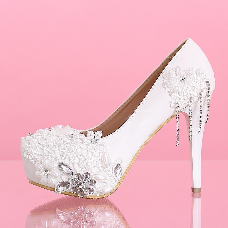 7ebc7ec882379 US $59.88  Handmade Stick Rhinestones Lace 2cm Platform 12cm White High  Heels Wedding Shoes Customized Bridal Shoes Free Shipping 000087-in Women's  ...