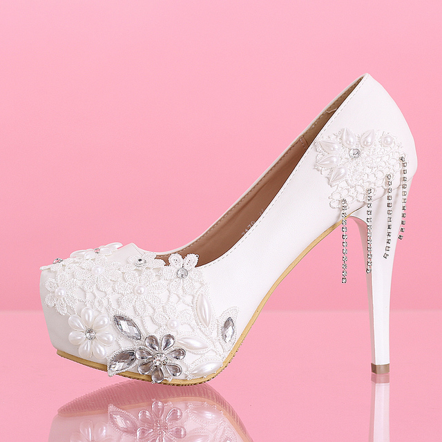 Handmade Stick Rhinestones Lace 2cm Platform 12cm White High Heels Wedding  Shoes Customized Bridal Shoes Free Shipping - 000087 f89009e2d375