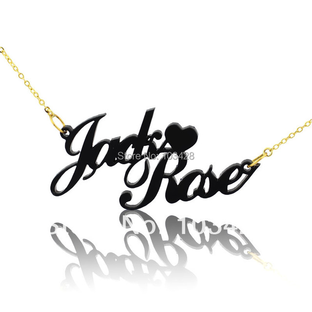 65809c910ccb Personalizado dos nombres collares negro collar de acrílico en Carrie estilo  con corazón collar de hecho