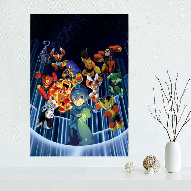 Custom megaman Canvas Painting Poster Cloth Silk Fabric Wall Art Poster for Living Room Home Decor 4