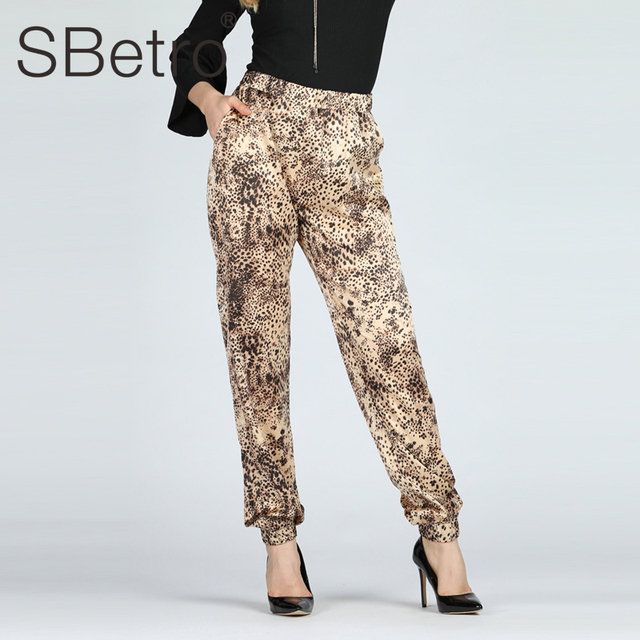 SBetro Women Leopard Harem Pant Casual Spring Carrot Pants Mid Waist Summer Female Going Out Trousers Drop Shipping