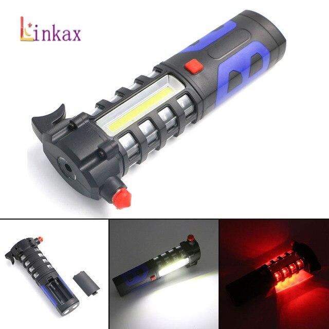 Multipurpose Car Veículo LEVOU Lanterna Magnética Janela Disjuntor Martelo De Emergência Ferramenta de Resgate Fuga De Segurança Ímã Tocha COB