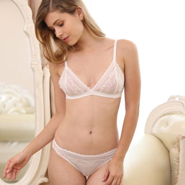 Sin anillo de acero bralette ropa interior súper fino encaje Sexy triangular taza que muestra el pecho pequeño